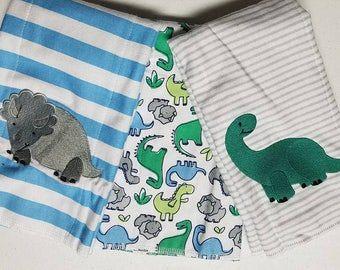 Personalized Dino Burp Cloth Set