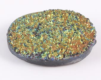 Amazing Rear Piece Of Druzy A beautiful Quartz Gemstone Oval Shape Golden Shining Colour 30.00 Cts. Size 17 X 22 X 7 Code MGJ 199