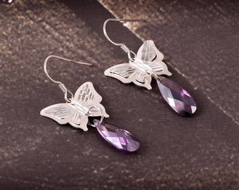 Really Very Beautiful Look Like A gorgeous Butterfly Style 92.5 Sterling Silver Earrings For Women ,Girls 4.88 Gms. Length 4.30 CM. MGJ 20