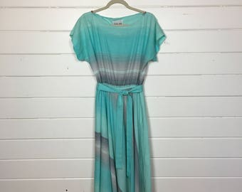 Vintage 1980s Turquoise Striped Day Dress / Made by Sally Lou / Full Skirt / Bateau Neckline
