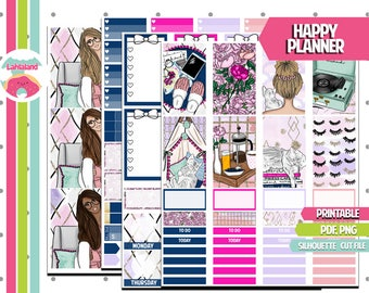 Lazy Sunday | Weekly Kit | Printable Planner Stickers | Happy Planner | Fashion Girl | Cut Files
