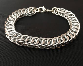 Chainmail Bracelet - Men's Half Persian Chain in Silver
