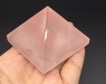 Natural rose quartz crystal Pyramid fortune ornament