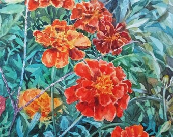 Original watercolor painting Marigolds Small watercolor cheap wall art cheap wall decor affordable art inexpensive art watercolor flowers