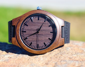 Holiday Sale! Engraved wooden watch for him,Personalized for him,Husband gift,Groomsmen gift,Father gift chrismas,Wooden watch for men