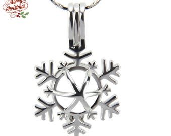 Bulk of 5pcs - 18kgp plated Pearl Cages pendant Zincorn SNOW CHRISTMAS Silver Locket for Akoya pearl