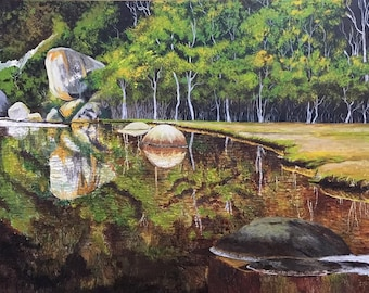 Original Painting on Australian Landscape Tidal River Iconic Whale Rock Acrylic