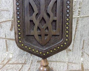 Ukrainian herb Tryzub Trident desktop handmade from wood carved beaded d361