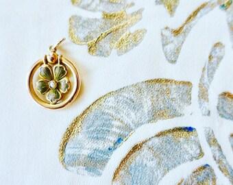 Antique Art Nouveau Gold and Pearl Flower Necklace Pendant on a Chain