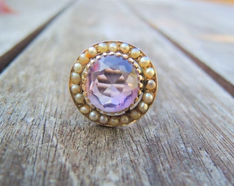 Antique Victorian Amethyst and Seed Pearl Gold Ring