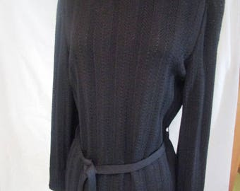 ST. JOHN COLLECTION Marie Gray Petite Black Knit Turtleneck Knit Top  P 38
