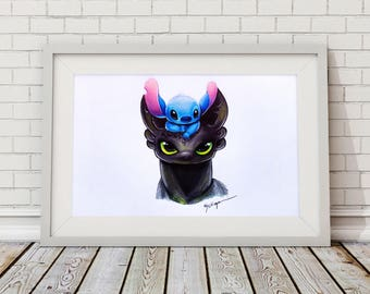 Toothless and Stitch Print
