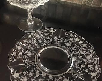 Vintage Etched Glass Serving Set