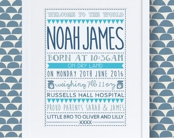 New baby boy personalised print