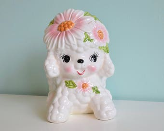 Vintage White Dog/ Puppy Ceramic Planter, Kitsch Planter, Relpo 5966 Japan, Japan Ceramics, Floral Puppy