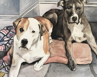 Custom Dog Painting-Multiple Dog Portrait-Pet Portrait-Pitbull Dog Painting