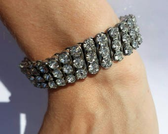 1940s or 1950s 'Empire made' 1950s blingy Art Deco rhinestone paste crystal bracelet expandible expandable vintage sparkly