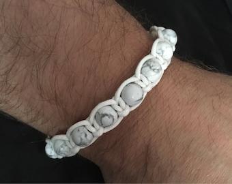 Mens bracelet. Howlite bracelet. Shamballa Style bracelet.