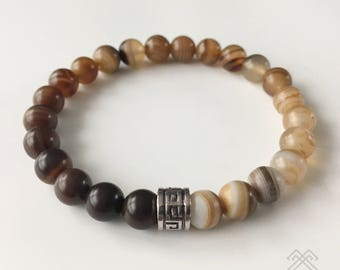 Mens bracelet - Agate bracelet - Brown Striped Agate beads - Beaded bracelet