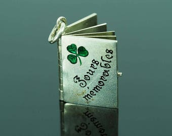 Antique French Silver Enamel Memory Notebook Charm