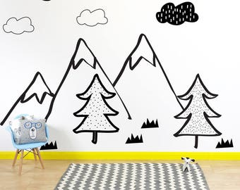 Nordic Mountain Scene Wall Stickers