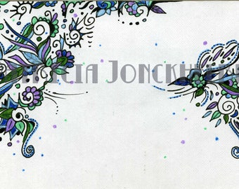 Mail art - Mail art - hand - flowers decorated envelope