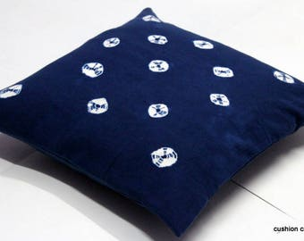 Home Decorative Indigo Tie Dye 100% Cotton Cushion Cover Hand Block Print #CCTDI041