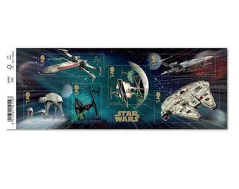 STAR WARS™ 2015 Stamp Sheet~X-Wing Starfighters, Millenium Falcon, Tie Fighters, and AT-at walkers