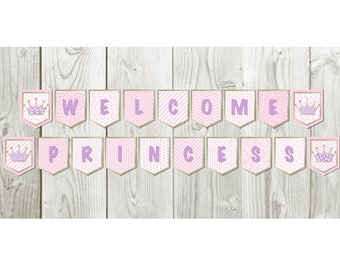 Baby shower, baby shower banner, crown, gold and pink, baby girl