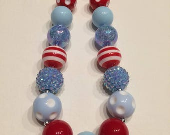 Girls chunky bead necklace red baby blue clear white