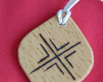 "Wooden Rune-bind talisman ""Love attraction"" pyrography hand made Asatru Wicca Pagan Elder FUTHARK"