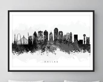 Dallas Skyline Black and White, Dallas Texas Cityscape Art Print, Wall Art, Watercolor, Watercolour Art Decor