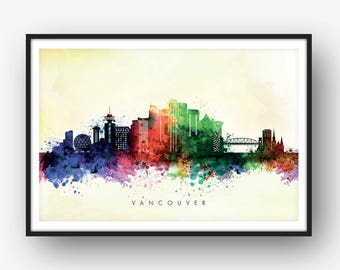 Vancouver Skyline, Vancouver Canada Cityscape, Art Print, Wall Art, Watercolor, Watercolour Art Decor [SWYVR04]