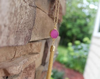 Hot Pink Magenta Gold Tassel Necklace