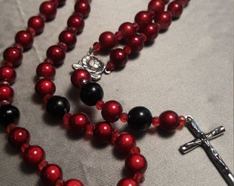 Red and black rosary