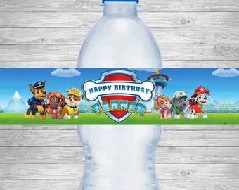 Paw Patrol Water Bottle Labels, Paw Patrol Birthday Party Labels, Paw Patrol Printable Party Supplies, Paw Patrol Birthday Party Invitation