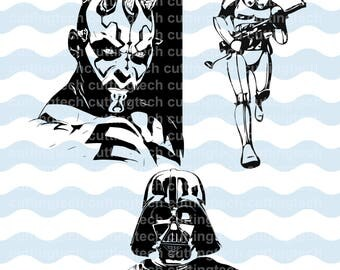 StarWars SVG, PNG Cut Files for use with Silhouette Studio, Cricut, Sign Cut, scrapbooking, vinyl,stencil template - Darth Vader, Darth Maul