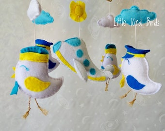 Baby mobile Aeroplane Crib mobile Unique baby mobile Baby felt mobile Ecology nursery decor Unique nursery mobile hanger Exclusive mobile