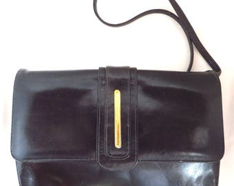 Leather Shoulder Bag - Vintage 1960's Black Leather Bag, MOD Handbag, Gift for Her
