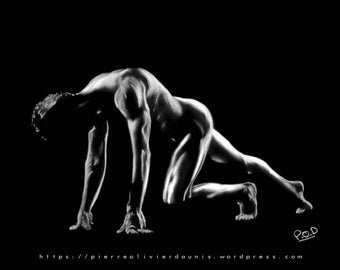 male nude art - modern painting of nude man 4 pastel