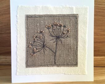 Handmade Blank Greeting Card - Embroidered - Cow Parsley