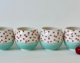 4 cups ceramic - turquoise Decor and flowers