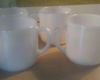 4 Federal Glass Irredescent mugs cups