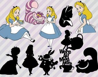 Alice in Wonderland Svg files, Disney Alice clip art, Alice in wonderland Cut files, Dxf, Png & Eps for Cricut, Alice silhouette Chesire Svg