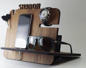 iPhone Docking Station,Gift for Men,Anniversary Gift for Husband,Gift for Dad, Wooden Docking Station,Boyfriend Gift,Gift,Gift for Him