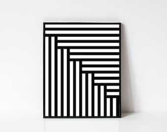 Geometric Wall Art, Minimalist Art, Printable Art, Geometric Print, Modern Wall Art, Line Art, Black and White Stripes, INSTANT DOWNLOAD