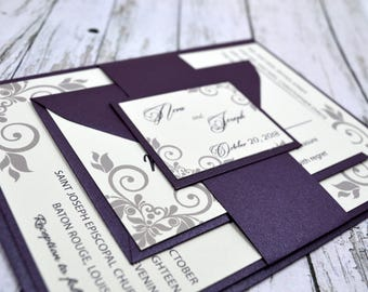 Wedding Invitation Purple Thermography (Raise Ink)