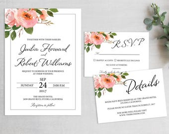 Wedding Invitation Template, Floral Wedding Invitation, Wedding Invitation Suite, Wedding Invitation Printable, Printable Wedding Invitation