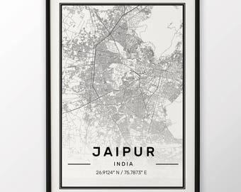 Jaipur City Map Print Modern Contemporary poster in sizes 50x70 fit for Ikea frame 19.5 x 27.5 All city available London, New York Paris
