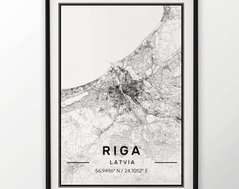 Riga City Map Print Modern Contemporary poster in sizes 50x70 fit for Ikea frame 19.5 x 27.5 All city available London, New York Paris